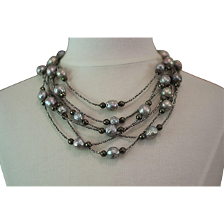PEARL PARADISE, One of a Kind Cultured Grey KASUMI PEARLS, Faceted Pyrite, FRENCH Diamond Cut Steel Beads ARTISAN Wrap Necklace