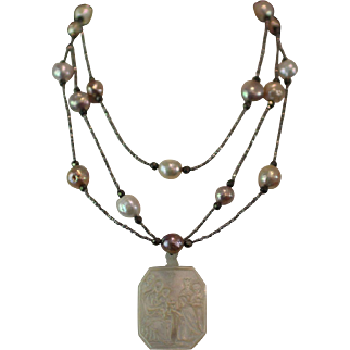 STAR of WONDER, One of a Kind RARE Antique Carved MOP Souvenir of Bethlehem NATIVITY MEDAL,Cultured Kasumi Pearls,FRENCH Diamond Cut Steel Beads,Pyrites, ARTISAN Wrap Necklace