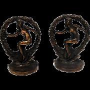 """NUDE IN WREATH"" Signed Antique Art Nouveau Female Bookends"