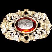 1890's Art Noveau Pierced Scroll Design Broach Pin w Amber Glass Stone