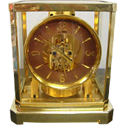 1950's Swiss LeCoultre Atmos Timepiece with Gilt Arabic Numerals -Never Needs Winding