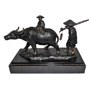 Antique Bronze Statue Chinese Farmer w/ Water Buffalo - Wooden Block Stand