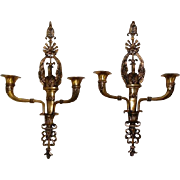 Antique Pair of Brass Wall Candle Sconces - Depositato - Made in Italy A16