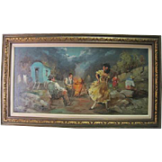 Large Framed Gypsy Caravan - Oil on Canvas - Signed by Artist