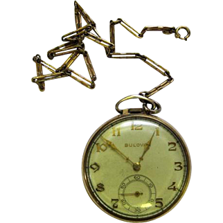 Lot #915 Bulova 15 Jewels Pocket Watch w/Watch Fob