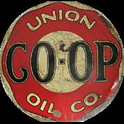 "Rare - Union CO-OP Oil Co. - Double Sided - Metal Porcelain Sign - 25 1/2"" Diameter"