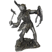 """1985 Comanche Warrior by Jim Ponter - Pewter Statue - 2474/4500 - 9 1/4"""" Tall"""