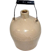 """Antique - Stoneware Crock Jug w/Wire Wooden Handle - 8"""" Tall"""