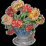 "Antique Cast Iron Flower Basket Door Stop - #267 - Original Paint - 7 1/4"" Tall"