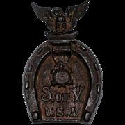 Antique Cast Iron Odd Fellows Eagle/Horseshoe Trivel - S. of V. USA