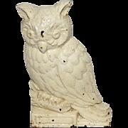 """Antique Cast Iron Owl Door Stop - 6 1/2"""" Tall"""