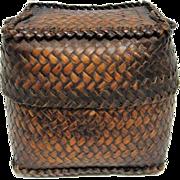 Antique Dark Patina Rice Tupil Lidded Basket- Late 1800's