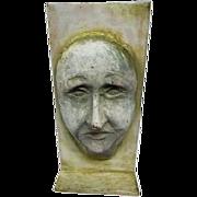 "Antique Decorative Iron Face Door Stop - 12"" Tall"