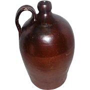 """Antique Large Crock Jug with Handle - 14 3/4"""" Tall"""