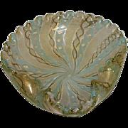 Antique Murano Hand Blown Latticino Ribbon Glass Bowl - Pale Blue/Cream/Gold Gilt
