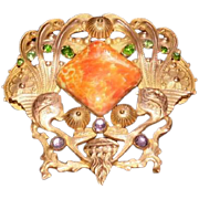 Oriental Broach Pin w/Green and Purple Glass Stones - Large Agate Center Stone