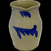 "Stoneware Pitcher w/ Cobalt Blue - 8 3/4"" Tall"