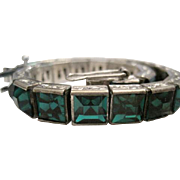 Art Deco - H & S Sterling Bracelet w/Green Crystal Channel Set Glass Stones - 24.1 Grams