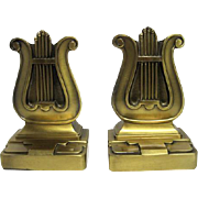 """Art Deco Lyre Bookends - Marked PMC 56B - 5 1/2"""" Tall"""