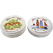 Authentic Original Set of 12 Navajo Christmas Plates by Kay Mallek - Each Plate Artist Signed and Stamped/Marked on the Back