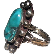 Beaded Design Large Turquoise Stone Ring - Size 10.25