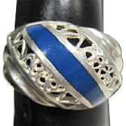 Blue Lapis Lazul & Silver Filagree Ring Marked - Size 6