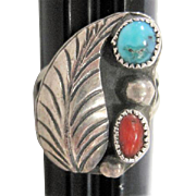 Coral & Turquoise Stones Set in Silver Ring w/ leaf Design - Size 7.75
