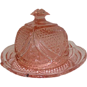 "Darker Pink Depression Glass Cheese Dish w/Plate - 5"" Tall"