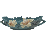 "Deep Blue Roseville Double Handled Console Bowl 449-10 - 13 1/2"" wide"