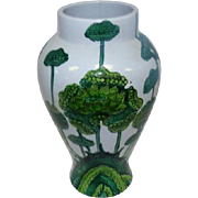 "Early 1900's - Porcelain Green Floral Vase - 11 1/2"" Tall"
