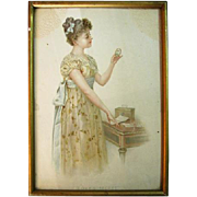 """Early 1900's Colored Print with Frame """"Love's Secret"""""""