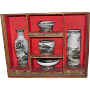 Early 1900's Oriental Signed Hand Painted 5vPc Set w/ Dovetailed Box