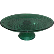 Emerald Green Anchor Hocking Glass Cakestand on Pedestal