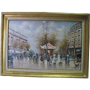 Framed Oil on Canvas - Paris Streets Signed by Sebastian