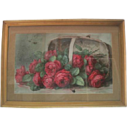 French Watercolor - Roses and Bees - Late 1800's to Early 1900's