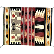 "Ganado Navajo Rug - Squash Blossom/Stepped Terraces - 31""L x 25"" W"