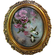 Hummingbird Watercolor by Jewell with Highly Ornate Oval Frame