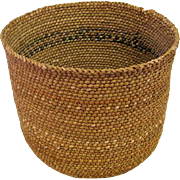 """Indian Basket - Coils Weft Right - 6 1/4"""" Tall"""
