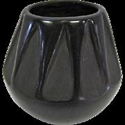 "Indian Black on Black Pottery Vase - 3 1/2"" Tall"