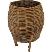 """Indian Weaved Basket with Legs and Sap Overlay - 4 1/2"""" Tall"""