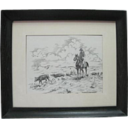 Ink Drawing - Cowboy Driving Cattle - by Bill Culbertson