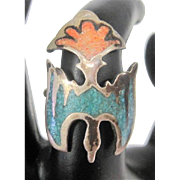 Inlaid Coral & Turquoise Bird Ring - Size 6