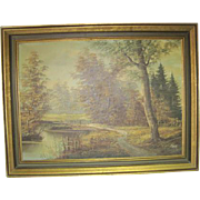 Landscape Oil on Canvas Signed by Tess