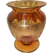 "Large Art Noveau Style Amber Glass Vase Feat. 24K Gold Gilt Band - 9 1/4"" Tall"