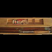 Lot #204 -Sakura Split Bamboo Fly Rod 3PC - 2 Extra Tips/Wooden Bobbers/Line -8ft