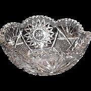 """Lot #712 - Cut Glass Hobstar/Fan Pattern Bowl - 7 7/8"""" Diameter"""