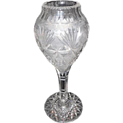 "Lot #716 - Late 1890's Checkered Diamond/Fan 24 Pt Star Base Vase - 12"" Tall"