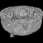"Lot #734 - Pinwheel/Star/Diamond Pattern Footed Glass Bowl - 8 5/8"" Diameter"