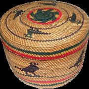 """Makah Lidded Native Basket Featuring Birds - 2 3/4"""" Tall"""