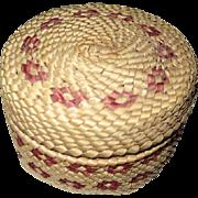 """Makah Lidded Small Basket - 1 3/4"""" Tall"""
